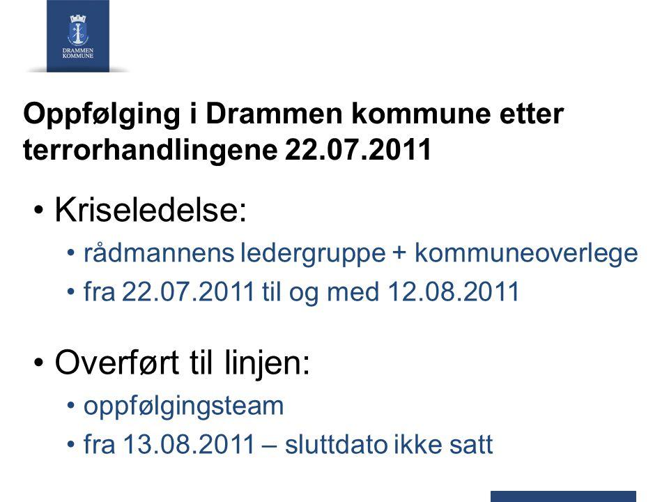 Oppfølging i Drammen kommune etter terrorhandlingene 22.07.2011 Kriseledelse: rådmannens ledergruppe + kommuneoverlege fra 22.07.2011 til og med 12.08