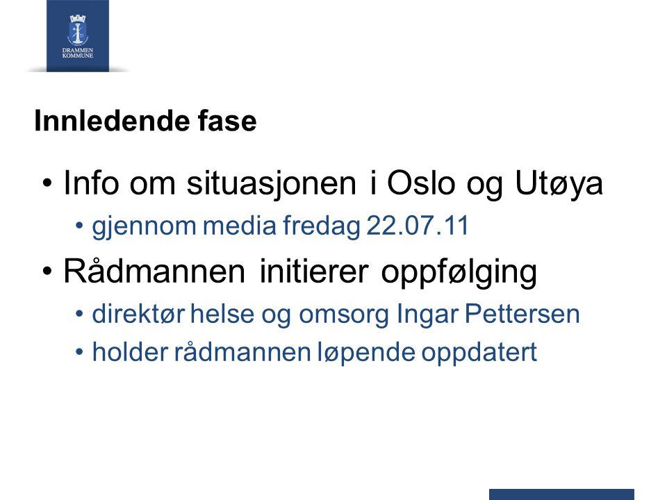 Innledende fase Info om situasjonen i Oslo og Utøya gjennom media fredag 22.07.11 Rådmannen initierer oppfølging direktør helse og omsorg Ingar Petter