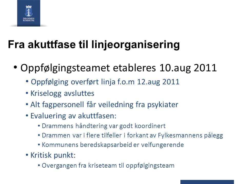Fra akuttfase til linjeorganisering Oppfølgingsteamet etableres 10.aug 2011 Oppfølging overført linja f.o.m 12.aug 2011 Kriselogg avsluttes Alt fagper