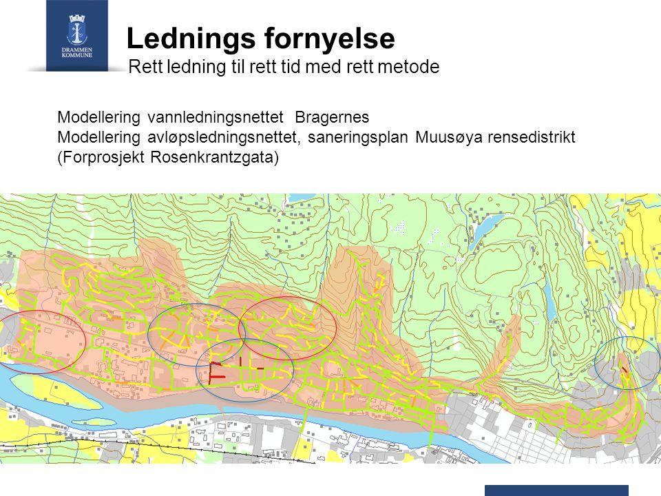 Lednings fornyelse Modellering vannledningsnettet Bragernes Modellering avløpsledningsnettet, saneringsplan Muusøya rensedistrikt (Forprosjekt Rosenkrantzgata) Rett ledning til rett tid med rett metode