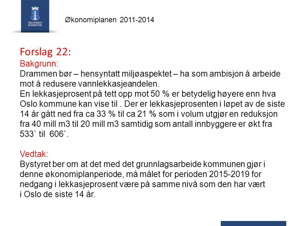 Forslag 22: Bakgrunn: Drammen bør – hensyntatt miljøaspektet – ha som ambisjon å arbeide mot å redusere vannlekkasjeandelen.