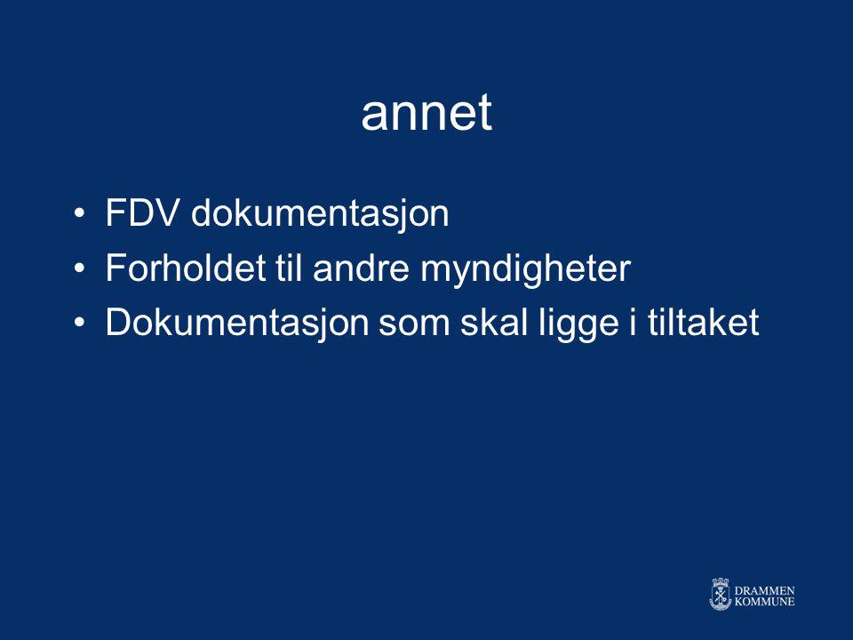 annet FDV dokumentasjon Forholdet til andre myndigheter Dokumentasjon som skal ligge i tiltaket