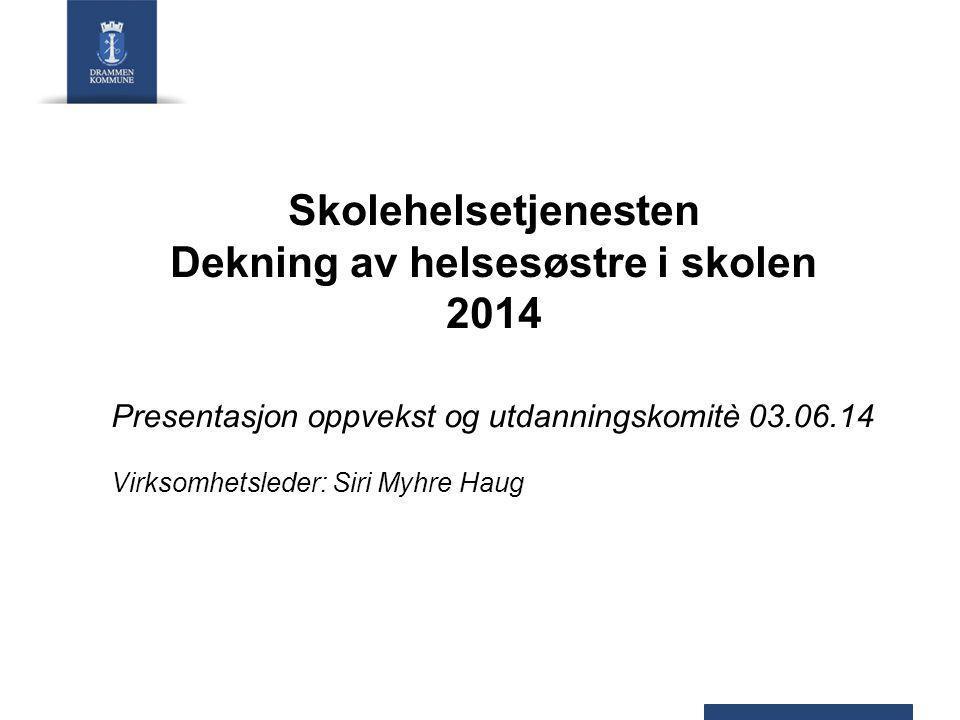 Skolehelsetjenesten Dekning av helsesøstre i skolen 2014 Presentasjon oppvekst og utdanningskomitè 03.06.14 Virksomhetsleder: Siri Myhre Haug