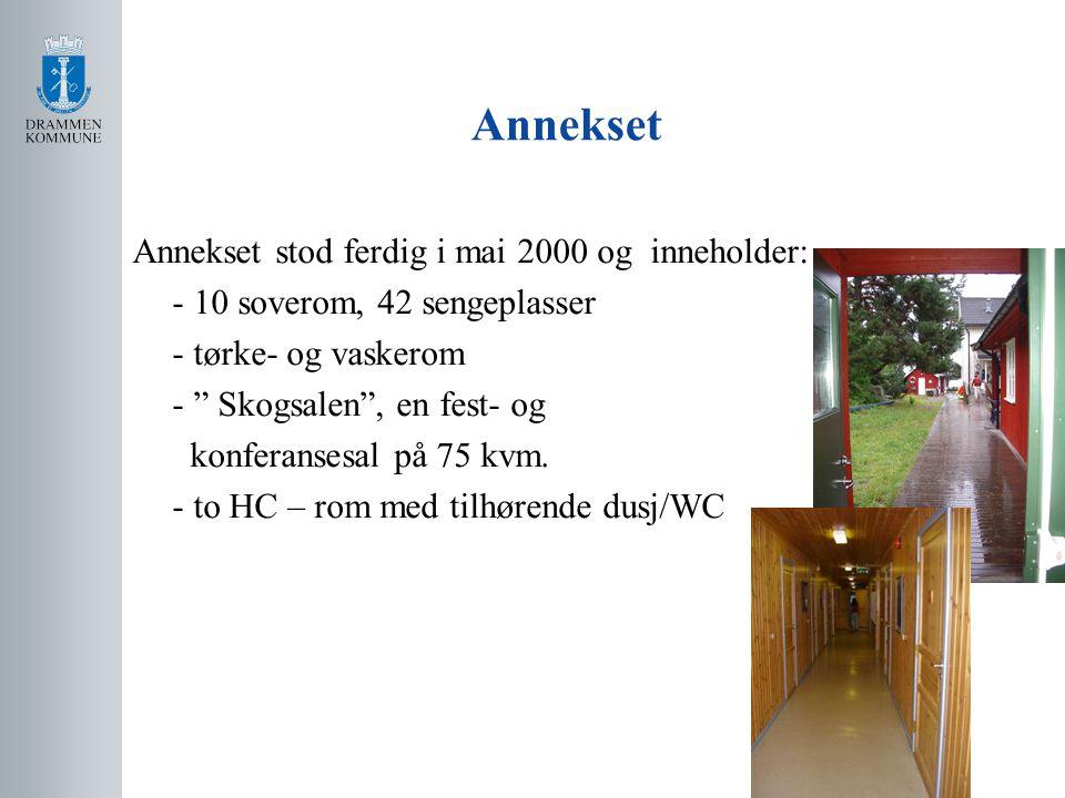 Annekset Annekset stod ferdig i mai 2000 og inneholder: - 10 soverom, 42 sengeplasser - tørke- og vaskerom - Skogsalen , en fest- og konferansesal på 75 kvm.