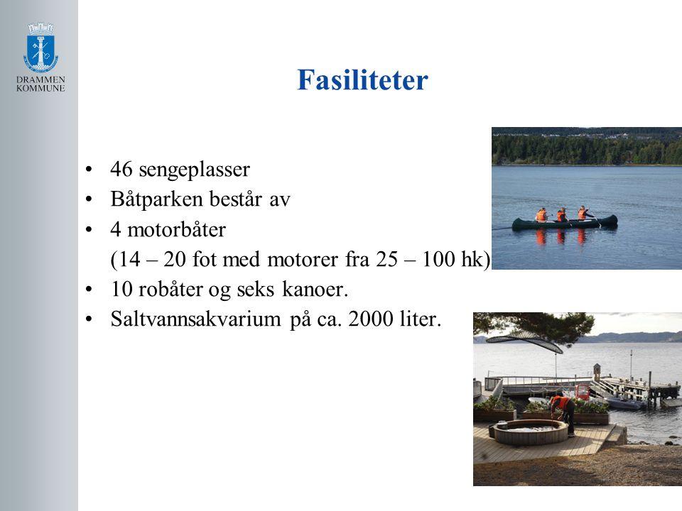 Fasiliteter 46 sengeplasser Båtparken består av 4 motorbåter (14 – 20 fot med motorer fra 25 – 100 hk) 10 robåter og seks kanoer.