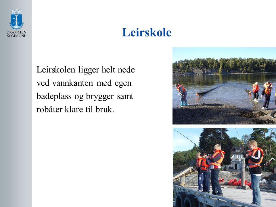 Leirskole Leirskolen ligger helt nede ved vannkanten med egen badeplass og brygger samt robåter klare til bruk.