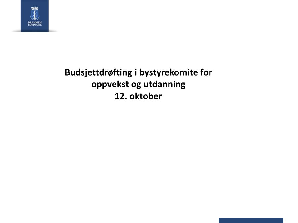 Budsjettdrøfting i bystyrekomite for oppvekst og utdanning 12. oktober
