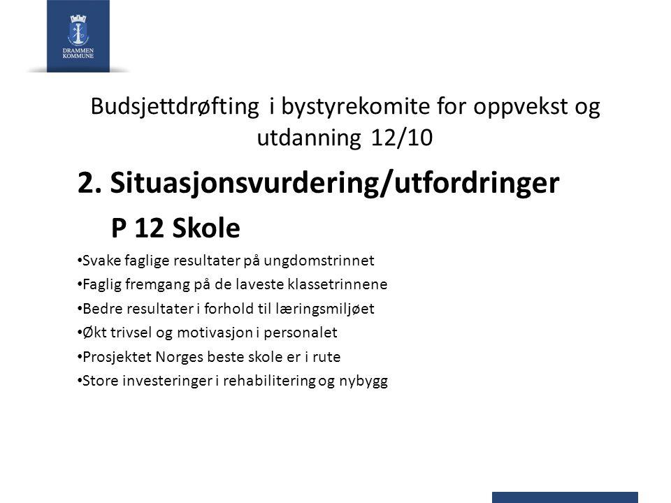 Budsjettdrøfting i bystyrekomite for oppvekst og utdanning 12/10 2. Situasjonsvurdering/utfordringer P 12 Skole Svake faglige resultater på ungdomstri