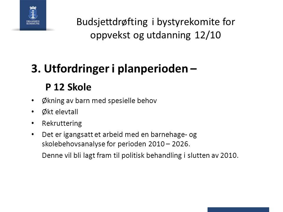 Budsjettdrøfting i bystyrekomite for oppvekst og utdanning 12/10 3.