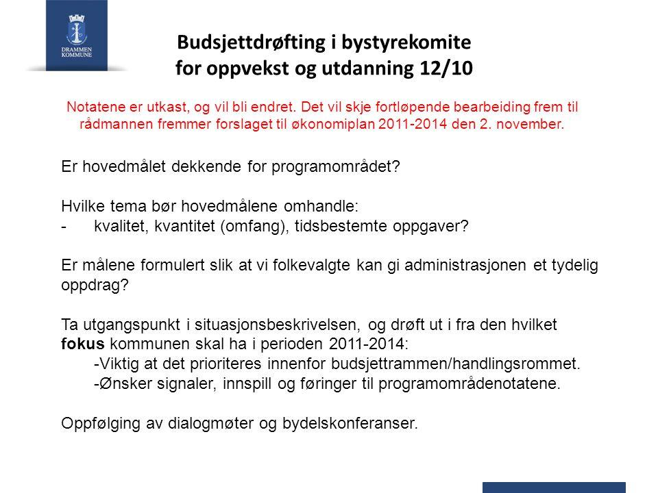 Er hovedmålet dekkende for programområdet? Hvilke tema bør hovedmålene omhandle: -kvalitet, kvantitet (omfang), tidsbestemte oppgaver? Er målene formu