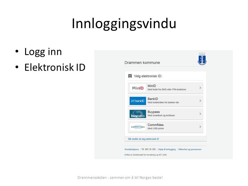Innloggingsvindu Logg inn Elektronisk ID Drammensskolen - sammen om å bli Norges beste!