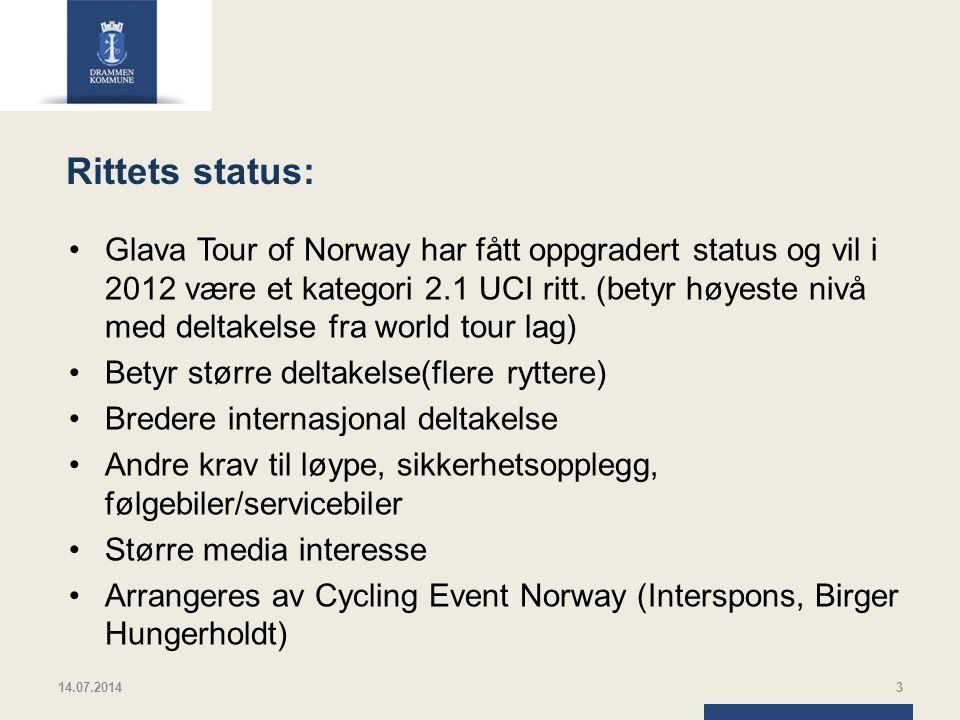Rittets status: Glava Tour of Norway har fått oppgradert status og vil i 2012 være et kategori 2.1 UCI ritt. (betyr høyeste nivå med deltakelse fra wo