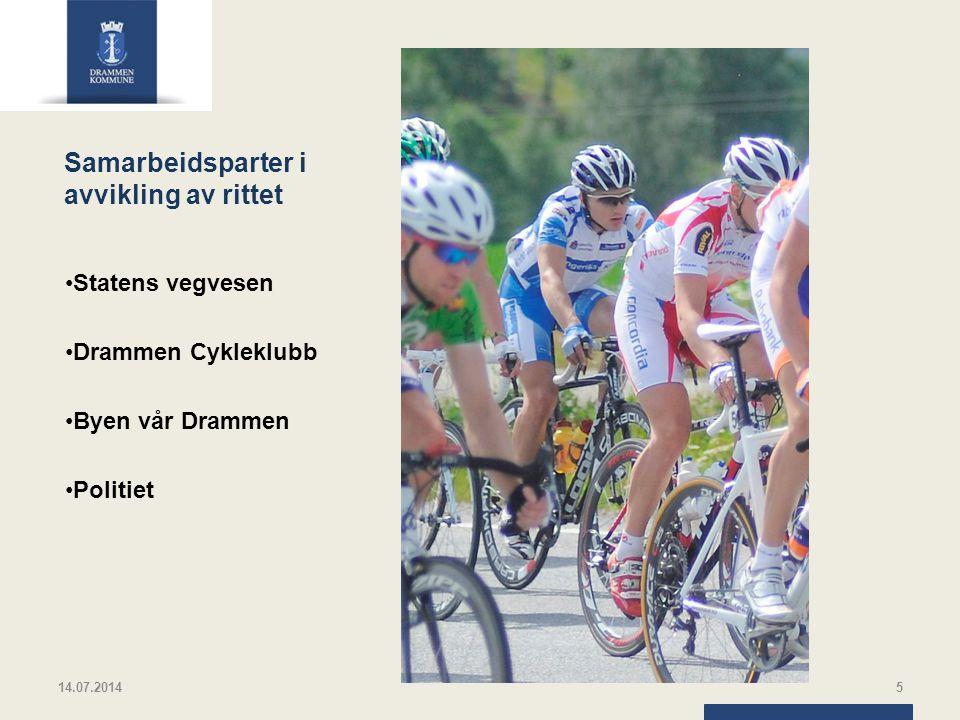 Samarbeidsparter i avvikling av rittet Statens vegvesen Drammen Cykleklubb Byen vår Drammen Politiet 14.07.20145