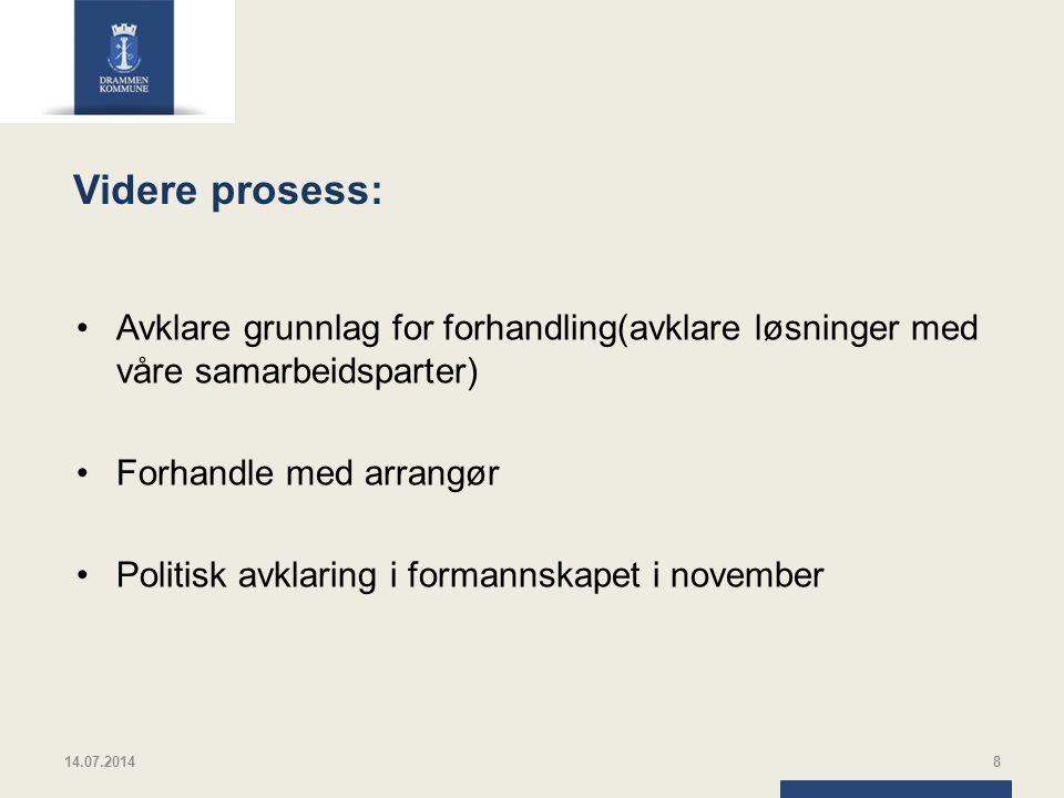 Videre prosess: Avklare grunnlag for forhandling(avklare løsninger med våre samarbeidsparter) Forhandle med arrangør Politisk avklaring i formannskapet i november 14.07.20148