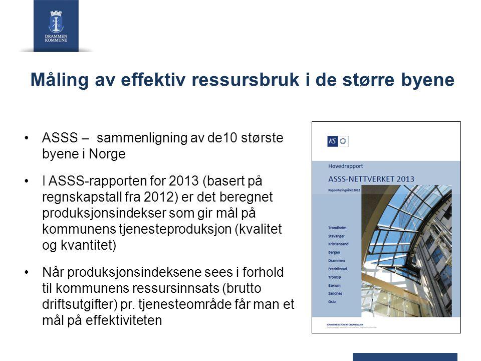 Måling av effektiv ressursbruk i de større byene ASSS – sammenligning av de10 største byene i Norge I ASSS-rapporten for 2013 (basert på regnskapstall