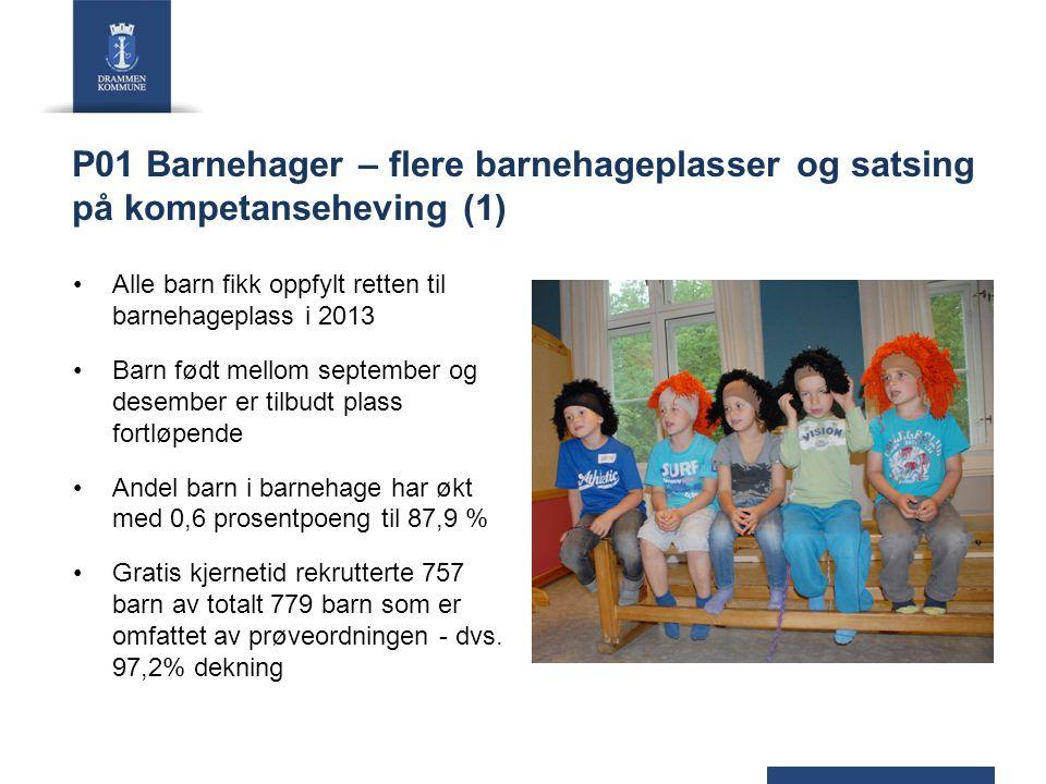 P01 Barnehager – flere barnehageplasser og satsing på kompetanseheving (1) Alle barn fikk oppfylt retten til barnehageplass i 2013 Barn født mellom se