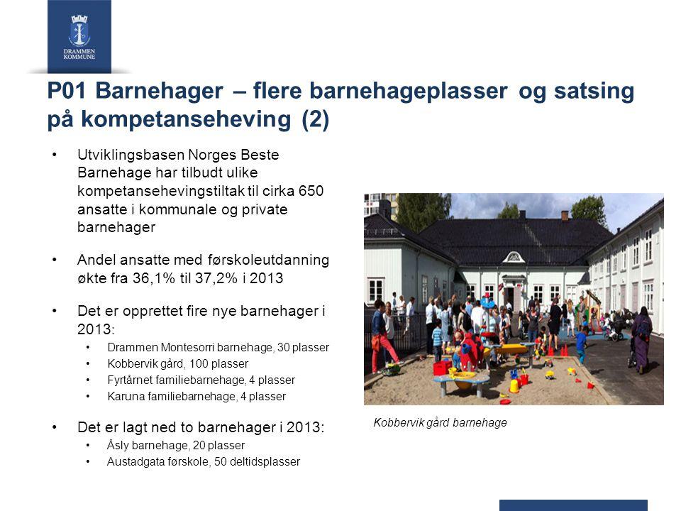 P01 Barnehager – flere barnehageplasser og satsing på kompetanseheving (2) Utviklingsbasen Norges Beste Barnehage har tilbudt ulike kompetansehevingst