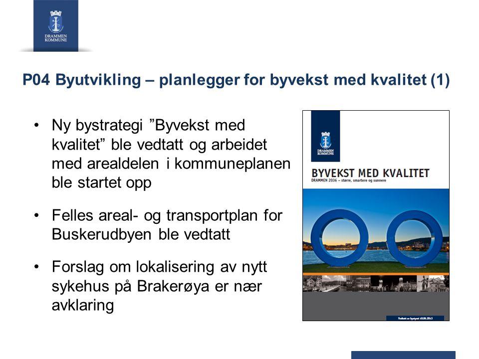 """P04 Byutvikling – planlegger for byvekst med kvalitet (1) Ny bystrategi """"Byvekst med kvalitet"""" ble vedtatt og arbeidet med arealdelen i kommuneplanen"""