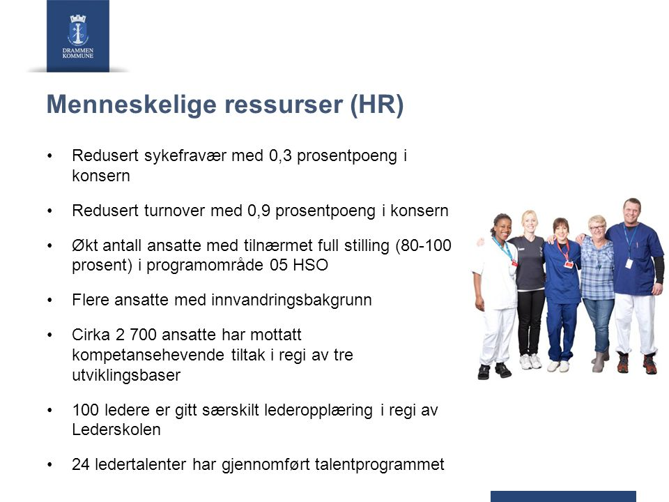 Menneskelige ressurser (HR) Redusert sykefravær med 0,3 prosentpoeng i konsern Redusert turnover med 0,9 prosentpoeng i konsern Økt antall ansatte med