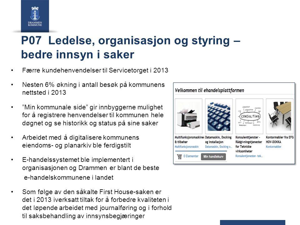 P07 Ledelse, organisasjon og styring – bedre innsyn i saker Færre kundehenvendelser til Servicetorget i 2013 Nesten 6% økning i antall besøk på kommun