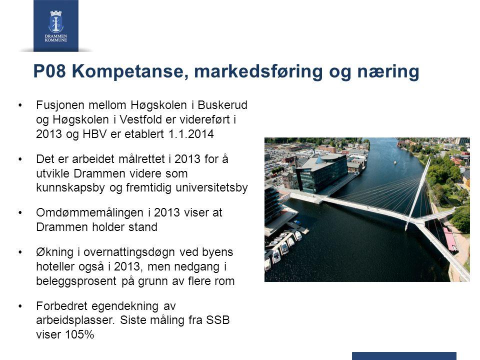 P08 Kompetanse, markedsføring og næring Fusjonen mellom Høgskolen i Buskerud og Høgskolen i Vestfold er videreført i 2013 og HBV er etablert 1.1.2014