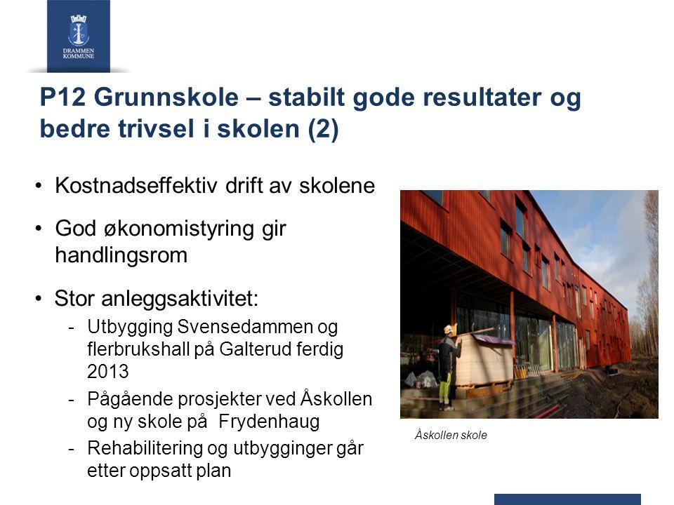 P12 Grunnskole – stabilt gode resultater og bedre trivsel i skolen (2) Kostnadseffektiv drift av skolene God økonomistyring gir handlingsrom Stor anle