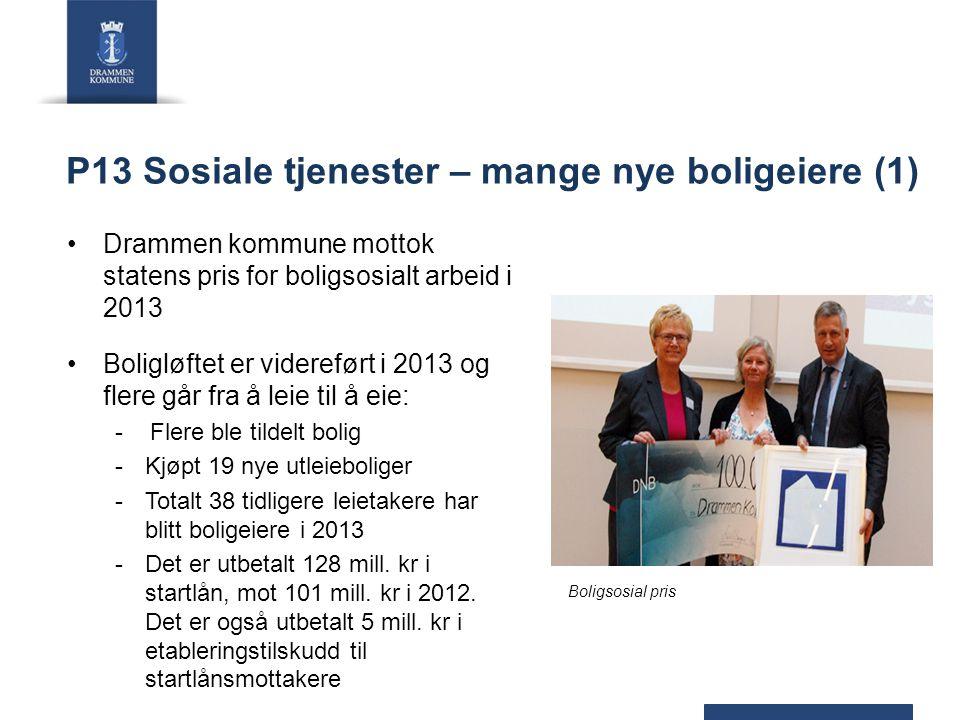 P13 Sosiale tjenester – mange nye boligeiere (1) Drammen kommune mottok statens pris for boligsosialt arbeid i 2013 Boligløftet er videreført i 2013 o