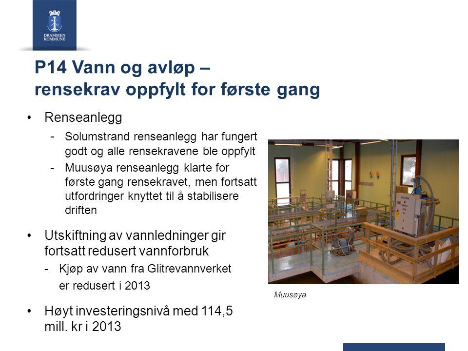 P14 Vann og avløp – rensekrav oppfylt for første gang Renseanlegg - Solumstrand renseanlegg har fungert godt og alle rensekravene ble oppfylt -Muusøya