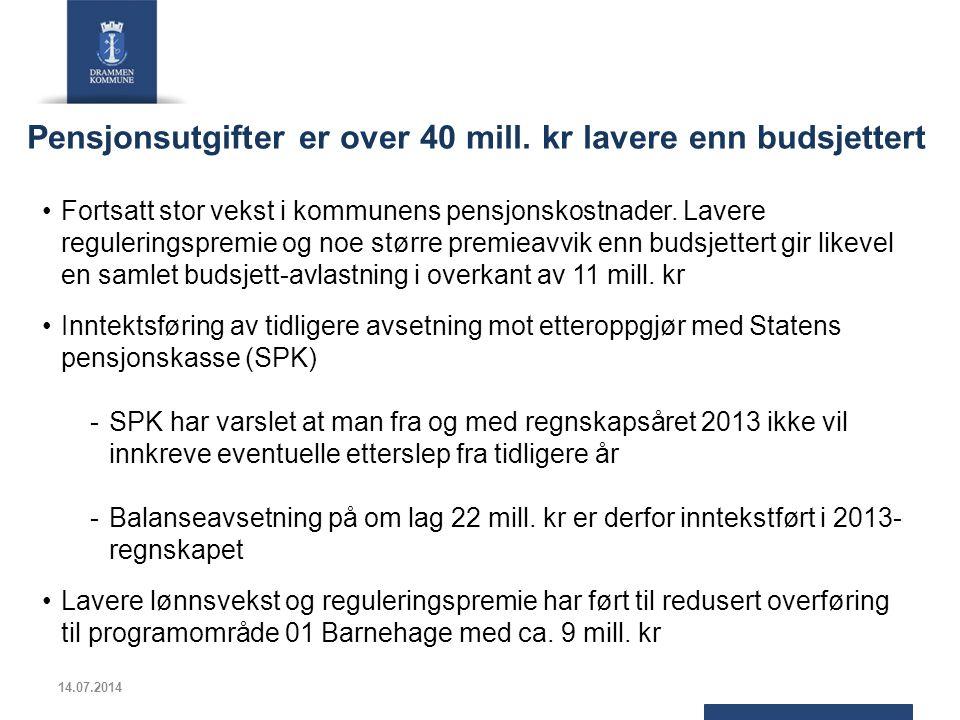 Pensjonsutgifter er over 40 mill. kr lavere enn budsjettert Fortsatt stor vekst i kommunens pensjonskostnader. Lavere reguleringspremie og noe større
