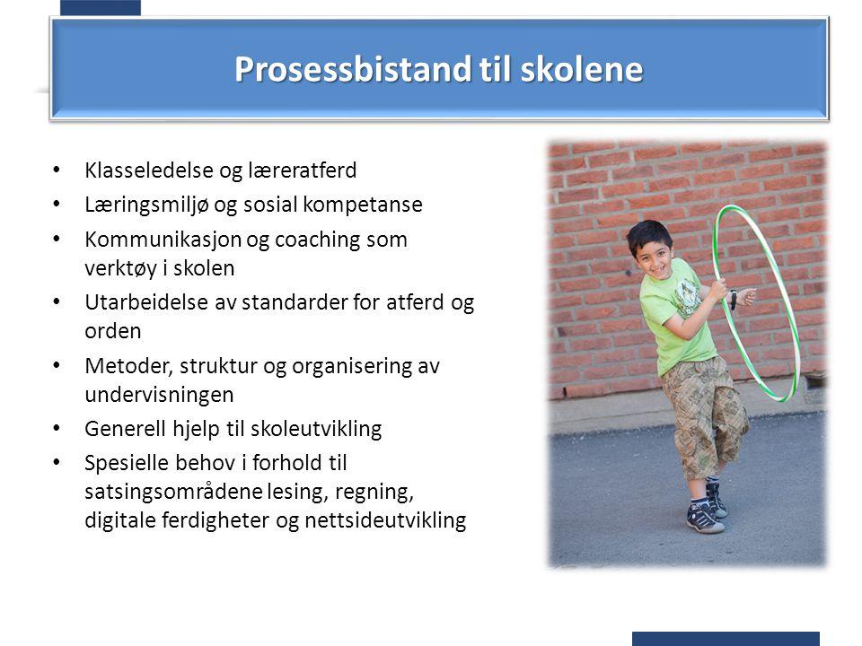 Prosessbistand til skolene Klasseledelse og læreratferd Læringsmiljø og sosial kompetanse Kommunikasjon og coaching som verktøy i skolen Utarbeidelse