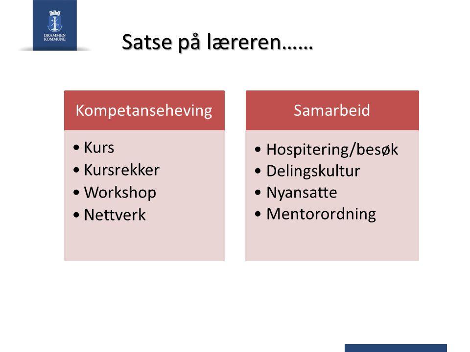 Satse på læreren…… Kompetanseheving Kurs Kursrekker Workshop Nettverk Samarbeid Hospitering/besøk Delingskultur Nyansatte Mentorordning