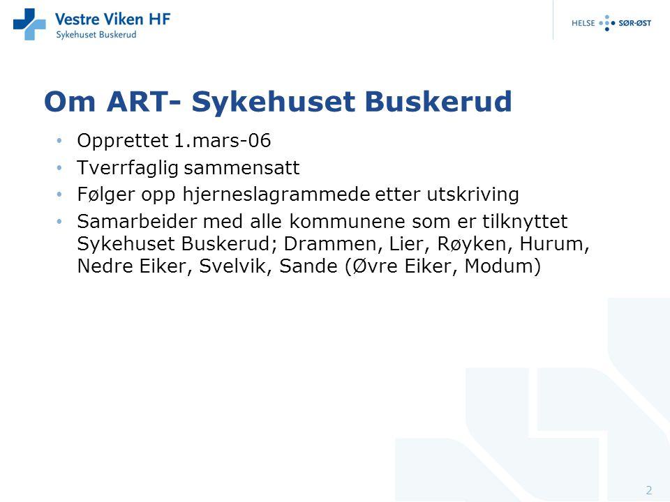 Om ART- Sykehuset Buskerud Opprettet 1.mars-06 Tverrfaglig sammensatt Følger opp hjerneslagrammede etter utskriving Samarbeider med alle kommunene som