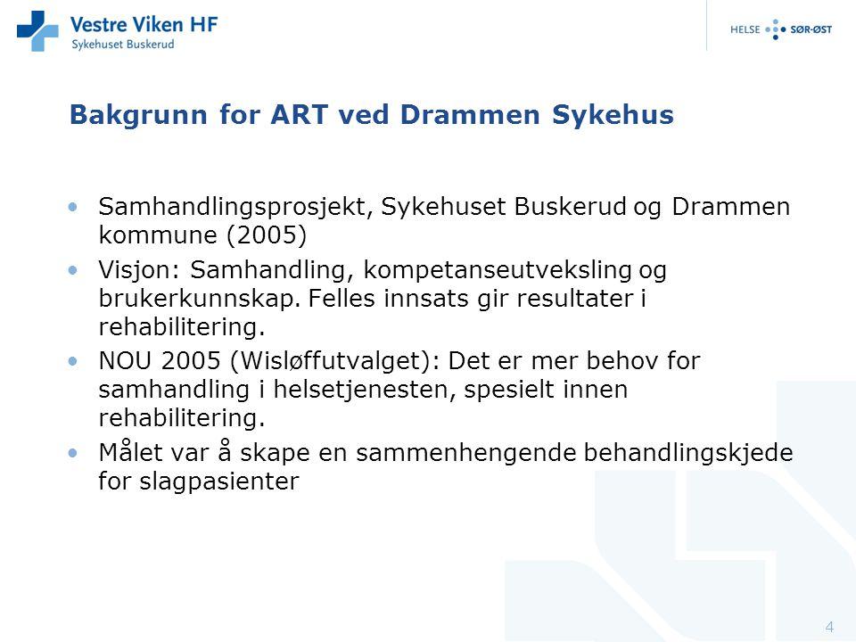 Bakgrunn for ART ved Drammen Sykehus Samhandlingsprosjekt, Sykehuset Buskerud og Drammen kommune (2005) Visjon: Samhandling, kompetanseutveksling og b