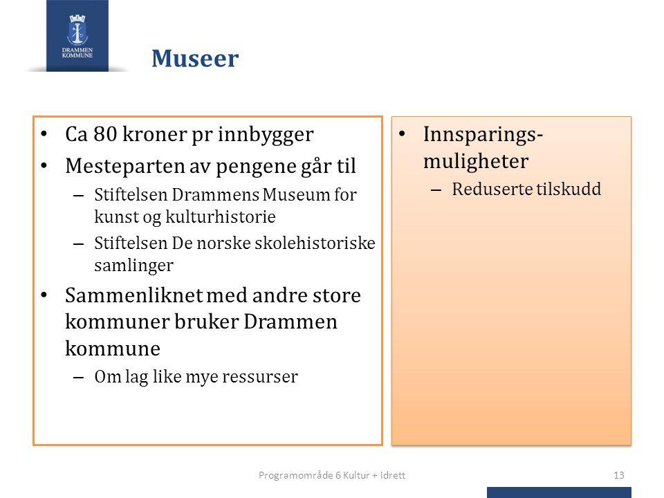 Museer Ca 80 kroner pr innbygger Mesteparten av pengene går til – Stiftelsen Drammens Museum for kunst og kulturhistorie – Stiftelsen De norske skoleh