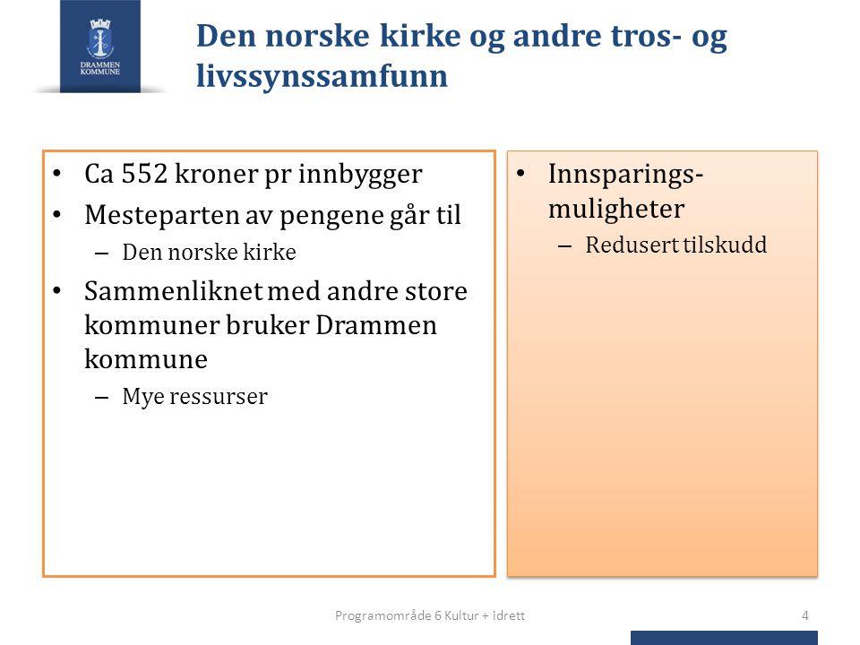 Den norske kirke og andre tros- og livssynssamfunn Ca 552 kroner pr innbygger Mesteparten av pengene går til – Den norske kirke Sammenliknet med andre