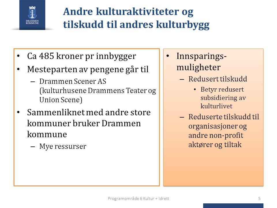 Andre kulturaktiviteter og tilskudd til andres kulturbygg Ca 485 kroner pr innbygger Mesteparten av pengene går til – Drammen Scener AS (kulturhusene