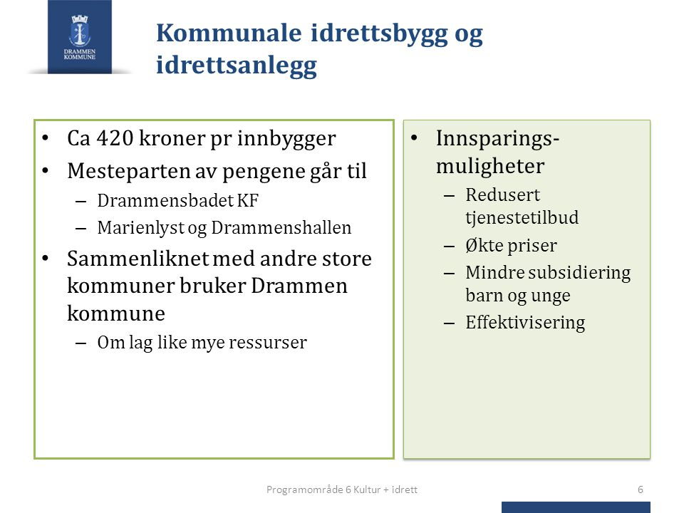 Kommunale idrettsbygg og idrettsanlegg Ca 420 kroner pr innbygger Mesteparten av pengene går til – Drammensbadet KF – Marienlyst og Drammenshallen Sam