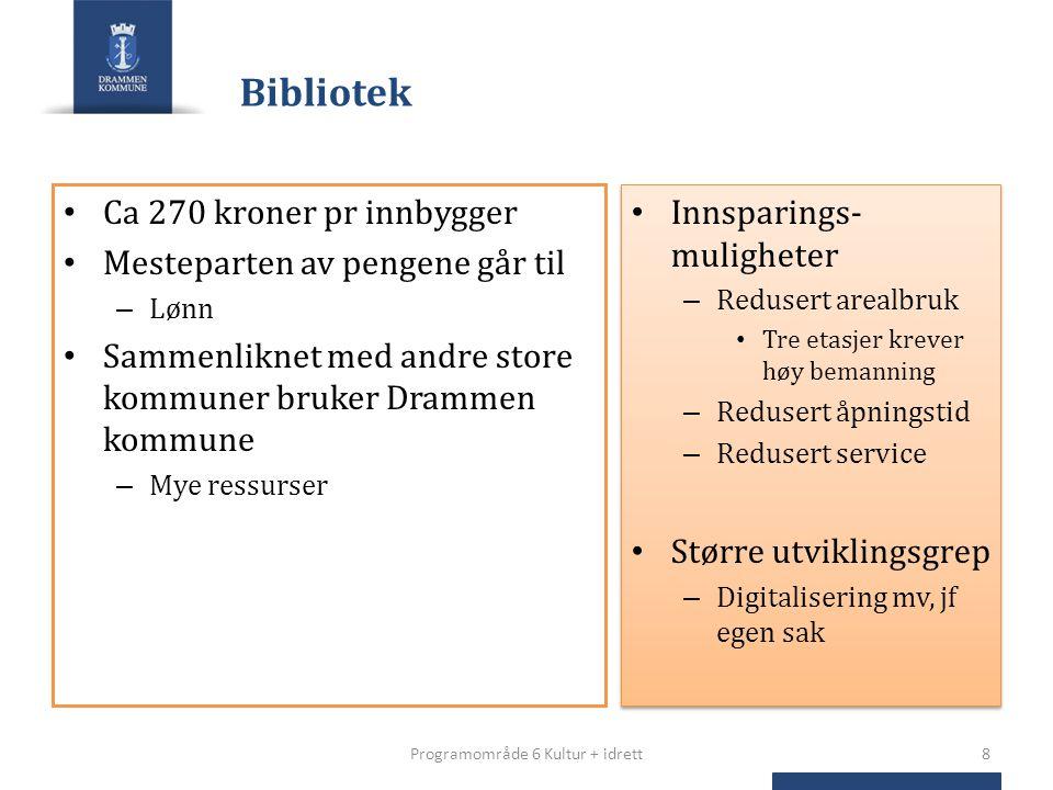 Bibliotek Ca 270 kroner pr innbygger Mesteparten av pengene går til – Lønn Sammenliknet med andre store kommuner bruker Drammen kommune – Mye ressurse