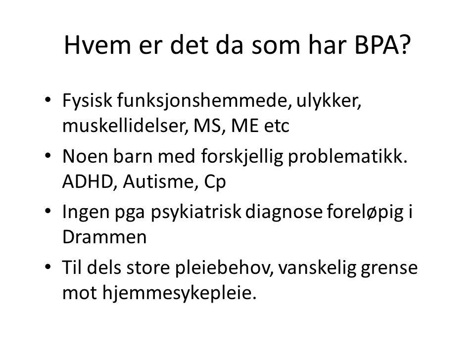 Hvem er det da som har BPA? Fysisk funksjonshemmede, ulykker, muskellidelser, MS, ME etc Noen barn med forskjellig problematikk. ADHD, Autisme, Cp Ing