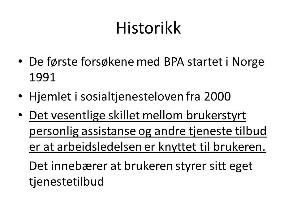 Historikk De første forsøkene med BPA startet i Norge 1991 Hjemlet i sosialtjenesteloven fra 2000 Det vesentlige skillet mellom brukerstyrt personlig