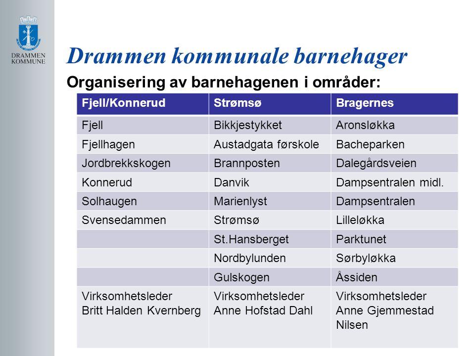 Drammen kommunale barnehager Organisering av barnehagenen i områder: Fjell/KonnerudStrømsøBragernes FjellBikkjestykketAronsløkka FjellhagenAustadgata