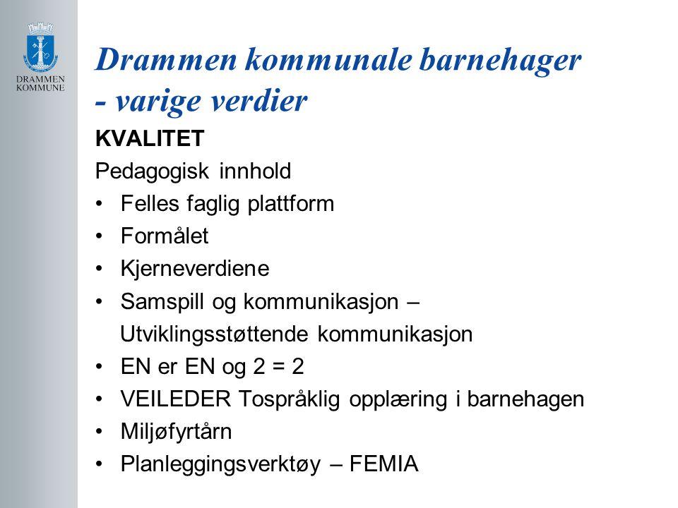 Drammen kommunale barnehager - varige verdier KVALITET Pedagogisk innhold Felles faglig plattform Formålet Kjerneverdiene Samspill og kommunikasjon –
