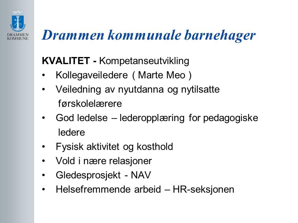 Drammen kommunale barnehager KVALITET - Kompetanseutvikling Kollegaveiledere ( Marte Meo ) Veiledning av nyutdanna og nytilsatte førskolelærere God le