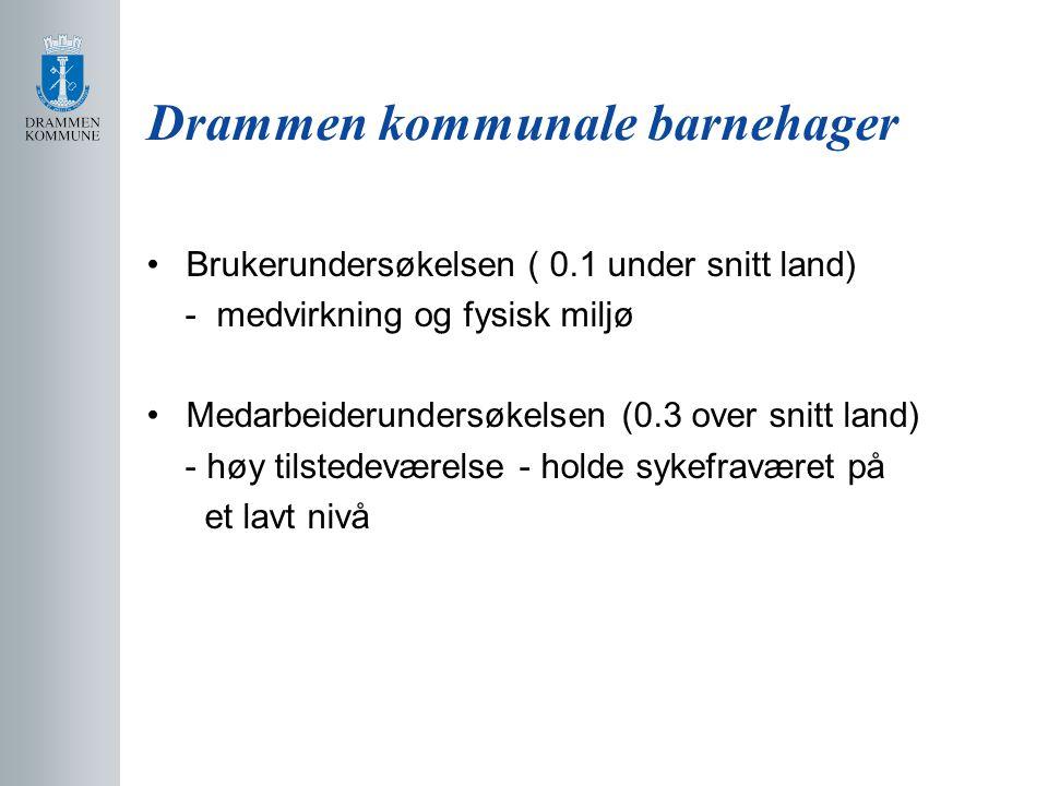 Drammen kommunale barnehager Brukerundersøkelsen ( 0.1 under snitt land) - medvirkning og fysisk miljø Medarbeiderundersøkelsen (0.3 over snitt land)