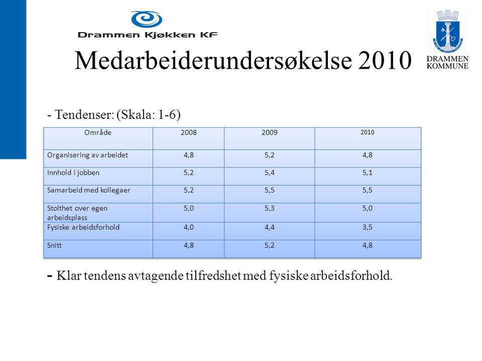 Medarbeiderundersøkelse 2010 - Tendenser: (Skala: 1-6) - Klar tendens avtagende tilfredshet med fysiske arbeidsforhold.