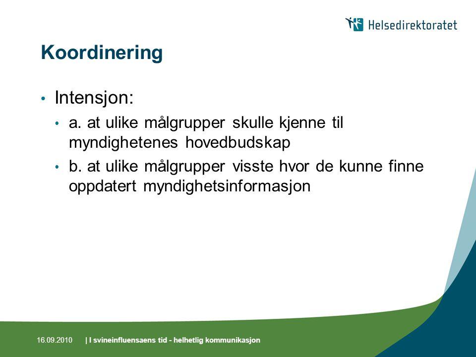 16.09.2010| I svineinfluensaens tid - helhetlig kommunikasjon Koordinering Intensjon: a.