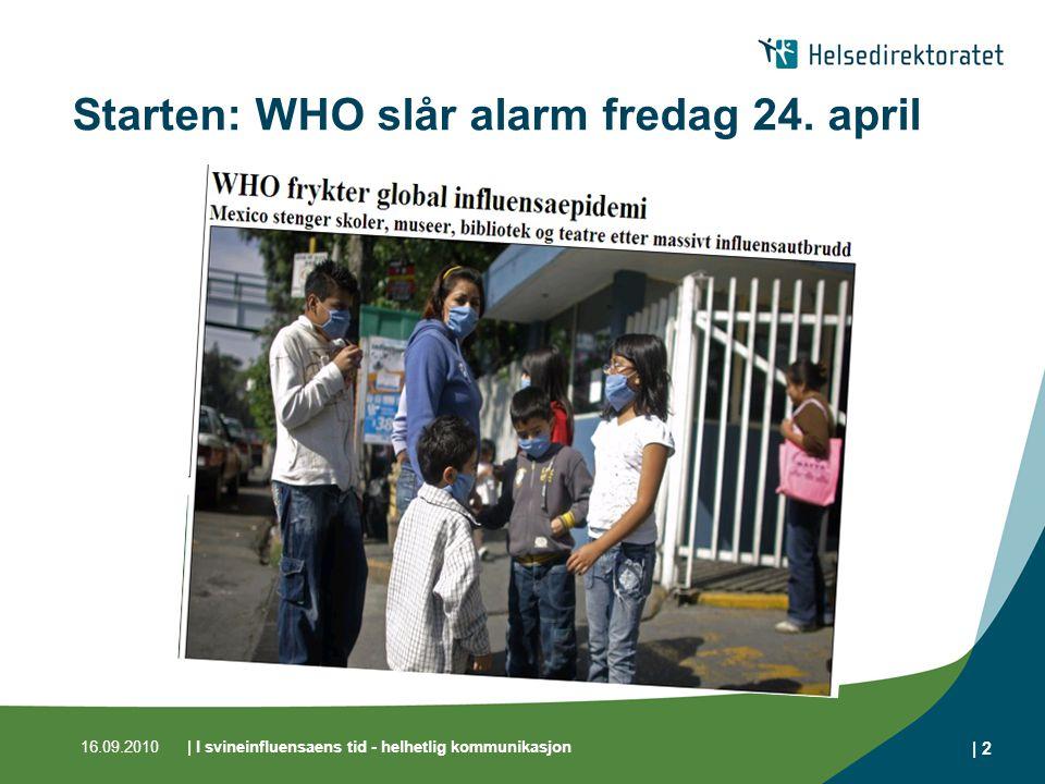16.09.2010| I svineinfluensaens tid - helhetlig kommunikasjon | 2 Starten: WHO slår alarm fredag 24.