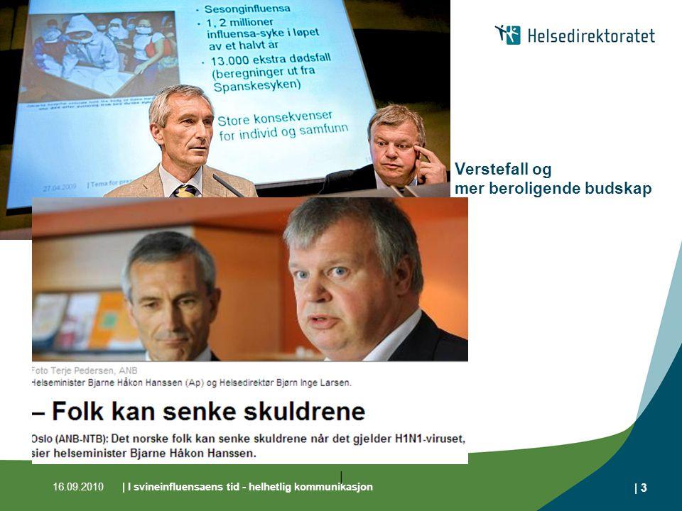 16.09.2010| I svineinfluensaens tid - helhetlig kommunikasjon | 3 | Verstefall og mer beroligende budskap