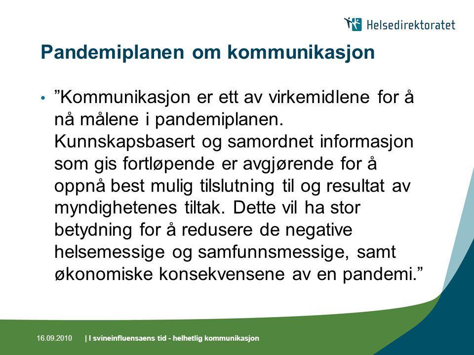 16.09.2010| I svineinfluensaens tid - helhetlig kommunikasjon Pandemiplanen om kommunikasjon Kommunikasjon er ett av virkemidlene for å nå målene i pandemiplanen.