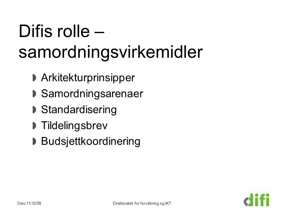 Difis rolle – samordningsvirkemidler Arkitekturprinsipper Samordningsarenaer Standardisering Tildelingsbrev Budsjettkoordinering Oslo 11/12/08Direktor